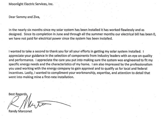 Letter from a client regarding their satisfaction with their solar installation by Moonlight Electric Services, Inc.