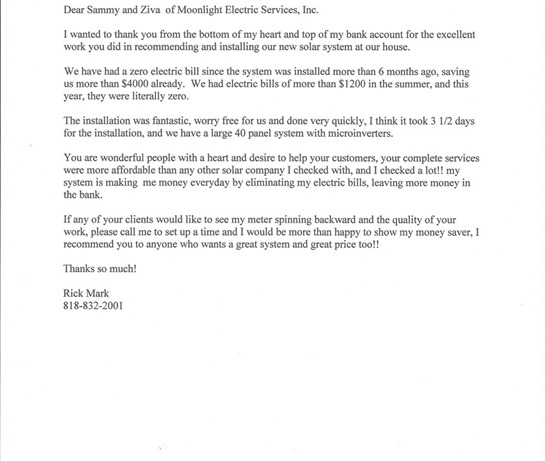 Thank you letter from a satisfied solar installation client with zero electric bills.