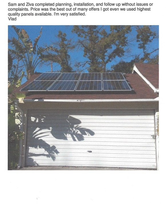 Solar panel installation on a satisfied client's home by Moonlight Electric Services, Inc.