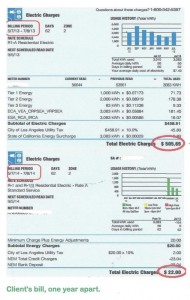 Two electric bills from one client, one year apart after receiving solar panel installation.