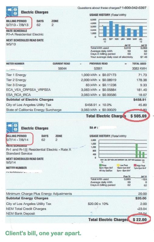 Two electric bills from one client, one year apart after installing solar panels.