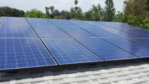 Beautiful installation of solar panels atop a home's roof.