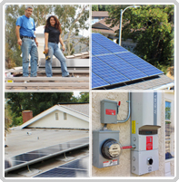 Installation team, installed solar panels, solar panels overlooking a home, and electrical panel with solar connections.