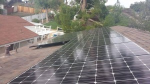 View of rooftop solar panels close up.