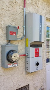 Solar inverter connected to electrical meter.