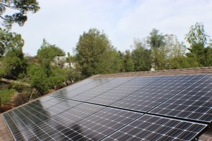 Solar panels on roof with tree tops in background